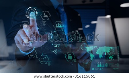 double exposure of business engineer hand works industry diagram on virtual computer as concept - stock photo