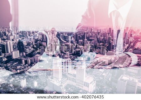 Double exposure of Business handshake and business people - stock photo