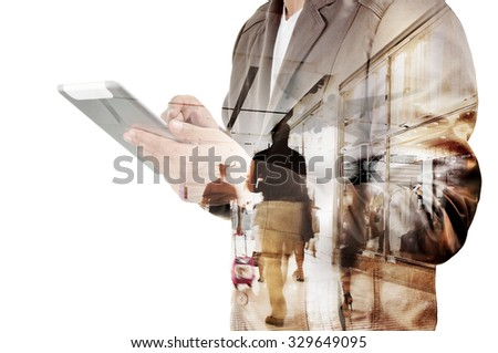Double exposure of Business Man and Airport Terminal with People Walking and Shopping as Business Travel Concept - stock photo