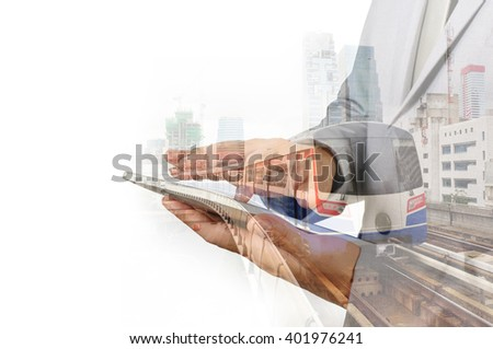 Double Exposure of Business Man and train or Subway as Modern City Transportation or Business Travel concept. - stock photo
