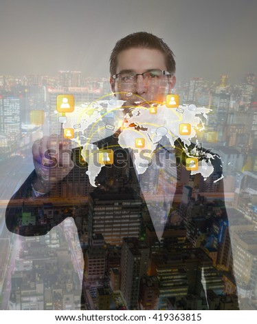 Double exposure of business man touching an imaginary screen with cityscape - stock photo