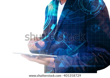 Double exposure of Business Man use Mobile Tablet with Earthglobe and Technology Background - stock photo