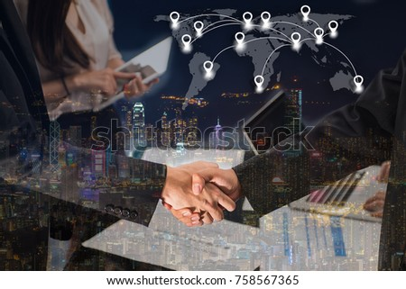 Double exposure of business people handshake greeting deal concept on cityscape business district background with map pin flat network conection on world global cartography globalization.