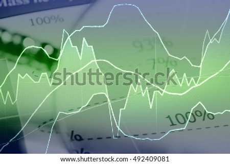 Double exposure of business working items with a digital information for Forex market, Gold market and Stock market trading. Business background as concept.