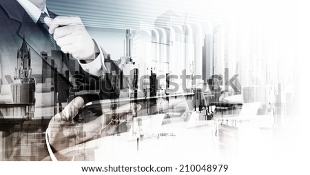 Double exposure of businessman and abstract city as concept - stock photo