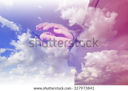 Double exposure of BusinessMan and Blue Sky as Cloud computing or Network concept - stock photo