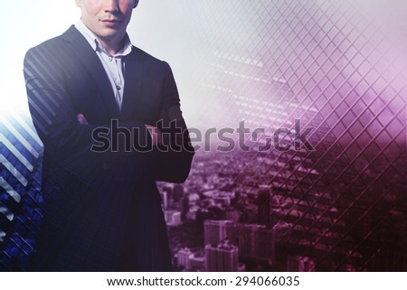 Double exposure of businessman and city.Business, technology, internet and networking concept - stock photo