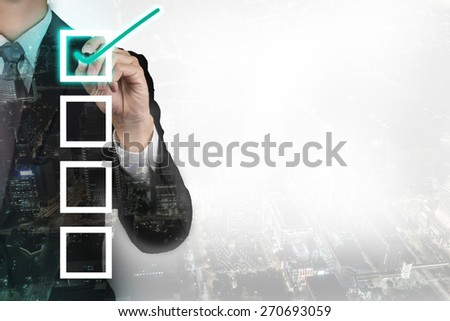 Double exposure of businessman check list.concept - stock photo