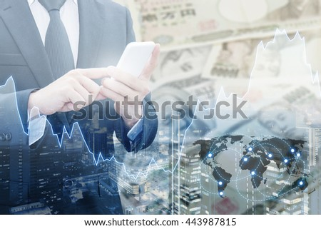 Double exposure of businessman connect internet network, financial graph and cityscape with Dollar & Yen bank note pile, Trading , Business and finance concept, element of this image furnished by NASA