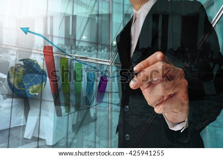 Double Exposure of Businessman draw Bar chart and Business Meeting or Seminar in Conference Hall as Economic Conference - stock photo