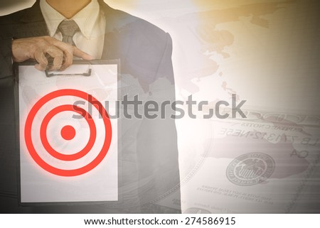 Double exposure of  businessman focus on his target in business. - stock photo