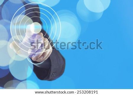 double exposure of businessman hand pointing at target symbol as business concept  - stock photo