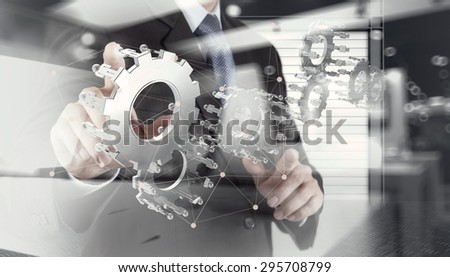 double exposure of businessman hand show human gear to success as concept with network diagram - stock photo