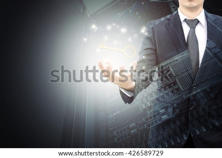 Double exposure of businessman hand showing technology key to success and servers technology in data center and world map network connection in IT technology business successful concept