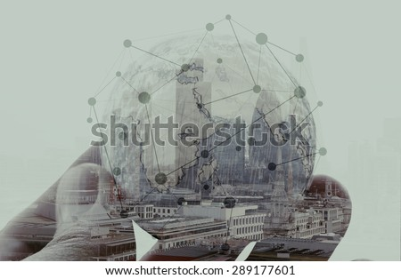 double exposure of businessman hand showing texture the world concept and social network diagram Elements of this image furnished by NASA london city background  - stock photo