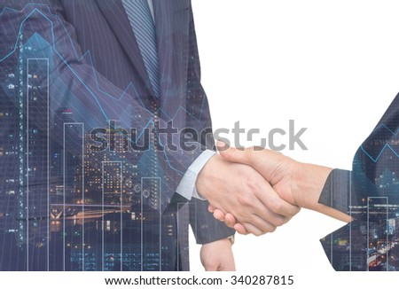 Double exposure of businessman handshake with cityscape and financial graph on white background, Business Trading concept - stock photo