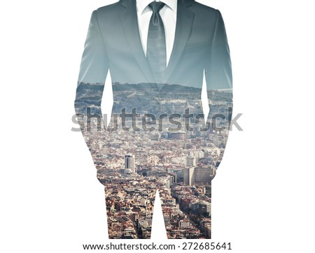 double exposure of businessman in black suit and city