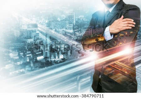 Double exposure of businessman on industrial business background. - stock photo