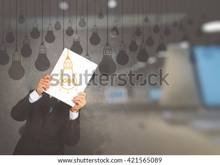 double exposure of businessman showing the book of drawing idea light bulb concept creative design - stock photo