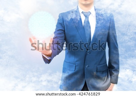Double exposure of businessman with cloud and blue sky hold cyber world network connection on hand, Cloud business technology concept - stock photo