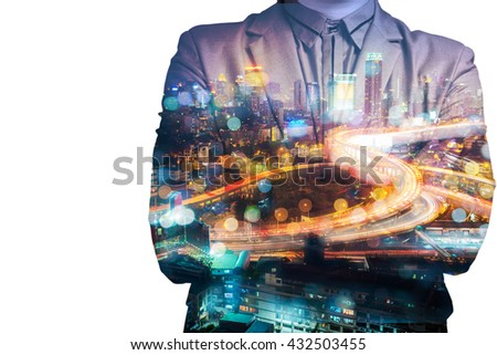 Double Exposure of BusinessMan with Modern City Building and Highway as Real Estate Development Business - stock photo