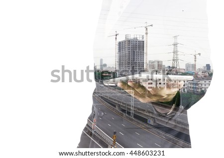 Double exposure of Businessman with Tablet and Modern City Building isolate on white as Business Technology Concept - stock photo