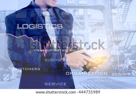 Double exposure of businessman with tablet on hand analyzing financial report with financial graph for Logistic Import Export at harbor background.