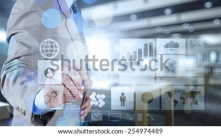 double exposure of businessman working with business strategy diagram and digital cloud network concept