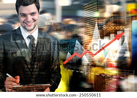 Double exposure of businessman working with computer graph and business strategy as concept,motion blur - stock photo