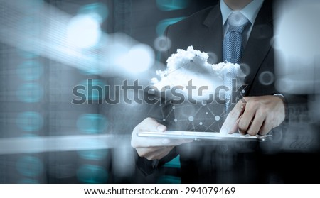 Double exposure of businessman working with digital tablet computer show social network structure and bokeh exposure - stock photo