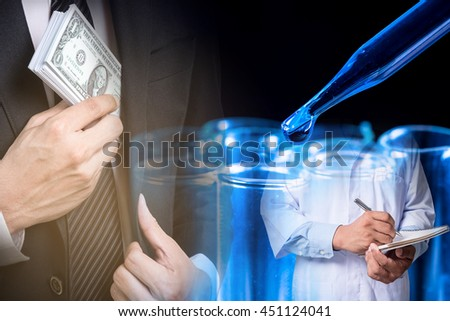 Double exposure of Businessmen Putting Money In Suit Pocket and scientists on experiment in lab background