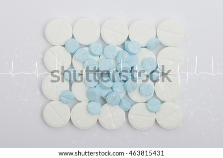 Double exposure of capsule pill and medical concept