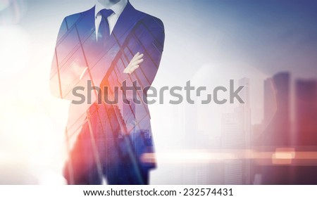 Double exposure of city and business man - stock photo