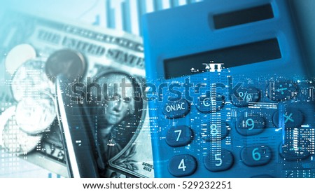 Double exposure of city and pen, calculator , graph , money for finance and business concept