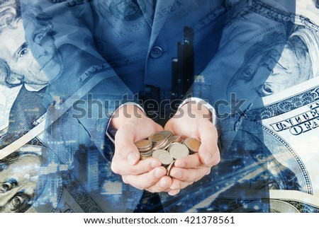 Double exposure of city businessman coins and bank dollar note for finance and banking concept - stock photo