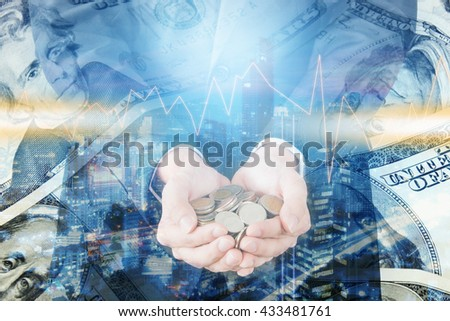 Double exposure of cityscape and businessman collect many coins on hands with trading graph, finance and banking concept - stock photo
