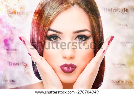 Double exposure of colorful nebula and female hair with words around her head - stock photo