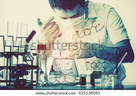 Double exposure of Conical flask in scientist hand with lab glassware background, Laboratory research concept - stock photo