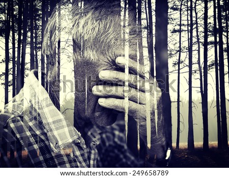 Double exposure of desperate senior man suffering and covering face with hands in deep depression, pain, emotional disorder, grief and desperation concept - stock photo