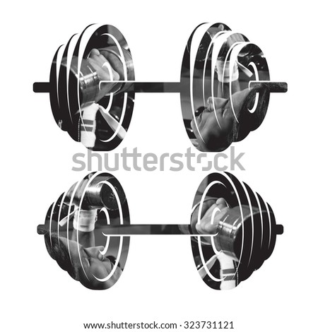 Double exposure of fitness lady with barbells on barbel silhouette - on isolated background - stock photo