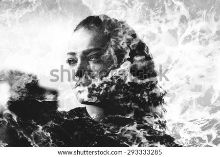 Double exposure of girl with gorgeous eyes and sea foam - stock photo