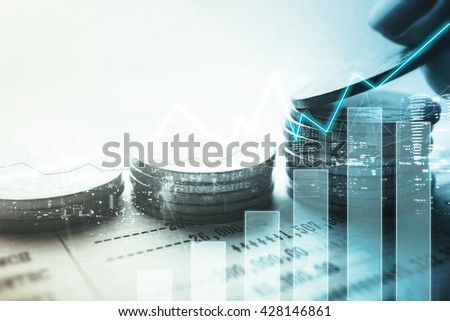 Double exposure of graph and rows of coins for finance and banking concept - stock photo