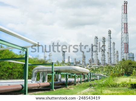 Double exposure of industrial pipelines and Oil refinery factory plant or petrochamical - stock photo
