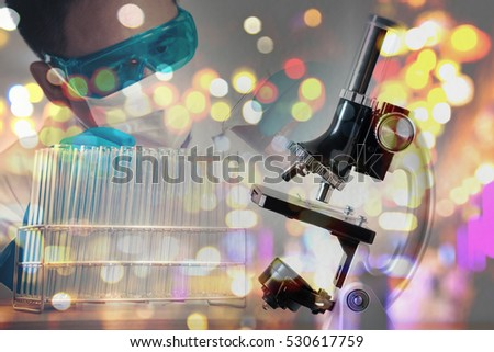 double exposure of microscope and scientist with laboratory test tube , science research concept