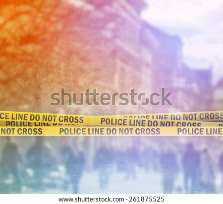 Double Exposure of Police Line Do Not Cross Yellow Headband Tape, Crime Scene on the Street - stock photo