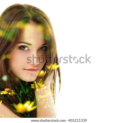 Double exposure of portrait of young beautiful girl and spring first yellow flowers and fresh green grass isolated on white background. Youth and freshness concept.