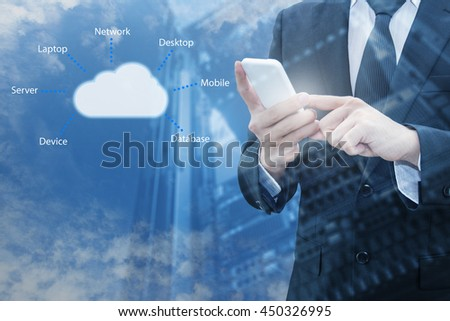 Double exposure of professional businessman connecting cloud internet smart phone with servers technology and connect world network in IT Business concept - stock photo