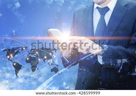 Double exposure of professional businessman using cloud technology in smart phone with servers technology in data center and network connection in IT Business technology concept, world map from NASA - stock photo