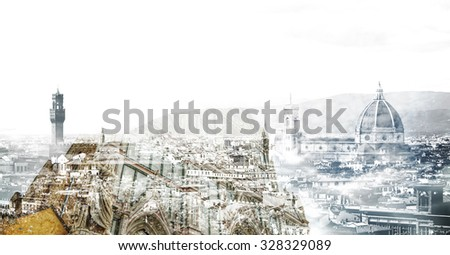Double exposure of Santa Croce cathedral and Florence panorama, Italy - stock photo