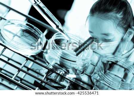 Double exposure of scientist using microscope with equipment and science experiments,Laboratory research, dropping liquid to test tube with chemical equations - stock photo